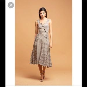 New Eva Franco Striped Utility Dress Sz 2 Midi